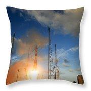 Launch Of Soyuz Vs07 2014 Throw Pillow