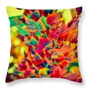 Leaves In Abstract Throw Pillow