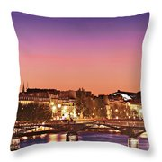 Left Bank At Night / Paris Throw Pillow by Barry O Carroll