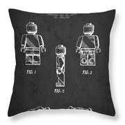 Lego Toy Figure Patent - Dark Throw Pillow by Aged Pixel
