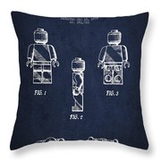Lego Toy Figure Patent - Navy Blue Throw Pillow by Aged Pixel