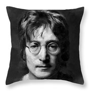Lennon Throw Pillow by Charlie Roman