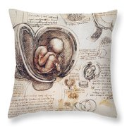 Leonardo: Human Fetus Throw Pillow
