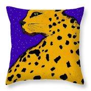 Leopard At Midnight Throw Pillow