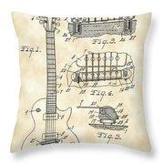 Les Paul Guitar Patent 1953 - Vintage Throw Pillow