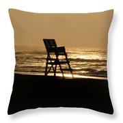 Lifeguard Chair In The Morning Throw Pillow
