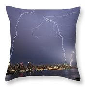 Lightening Over Manhattan Throw Pillow