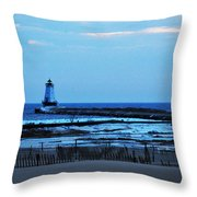 Lighthouse At Dusk Throw Pillow