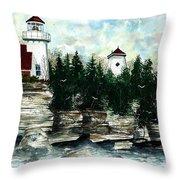 Lighthouse Cliff Throw Pillow