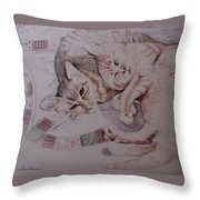 Lilly And Maddie Throw Pillow by Kathy Weidner