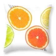 Lime Lemon Orange And Grapefruit Citrus Fruit Throw Pillow