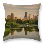 Lincoln Park Lagoon Chicago Throw Pillow