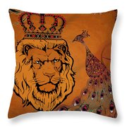 Lion And The Peacock Throw Pillow