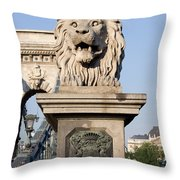 Lion Sculpture On Chain Bridge In Budapest Throw Pillow