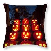 Lit Pumpkins With Demon On Halloween Throw Pillow