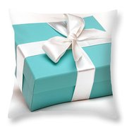 Little Blue Gift Box Throw Pillow by Amy Cicconi