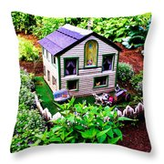 Little Garden Farmhouse Throw Pillow