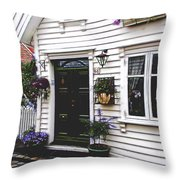 Little House In Norway Throw Pillow