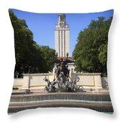 Littlefield Fountain - University Of Texas Throw Pillow