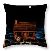 Log Cabin And Out House  Scene With Old Vintage Classic 1908 Model T Ford In Color Throw Pillow