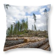 Logpile At A Clear Cut Area Throw Pillow
