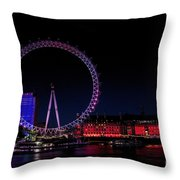London Eye In Red White And Blue Throw Pillow