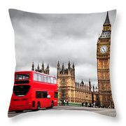 London The Uk Red Bus In Motion And Big Ben Throw Pillow