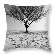 Lone Tree Winter Throw Pillow