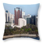 Long Beach Skyline Throw Pillow
