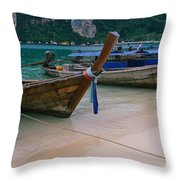Longtail Boats Moored On The Beach Throw Pillow