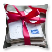 Love Letters Tied With Ribbon Throw Pillow