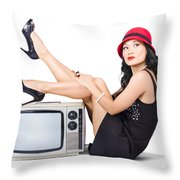 Lovely Asian Pinup Girl Posing On Vintage Tv Set Throw Pillow