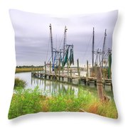 Lowcountry Shrimp Dock Throw Pillow