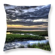 Cloud Reflections Over The Marsh Throw Pillow