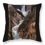 Lower Falls Of The Yellowstone Throw Pillow