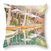 Luxury Pool With Loungers Throw Pillow