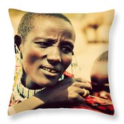 Maasai Baby Carried By His Mother In Tanzania Throw Pillow