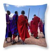 Maasai Men In Their Ritual Dance In Their Village In Tanzania Throw Pillow