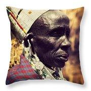 Maasai Old Woman Portrait In Tanzania Throw Pillow