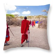 Maasai People And Their Village In Tanzania Throw Pillow