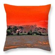Louisiana Sunset Of The Madisonville Lighthouse  Throw Pillow