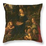 Madonna Of The Rocks Throw Pillow by Leonardo da Vinci
