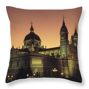 Madrid Cathedral Sunset Throw Pillow