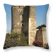 Maidens Tower In Baku Azerbaijan Throw Pillow