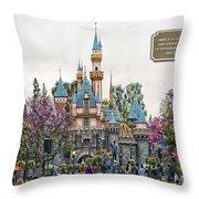 Main Street Sleeping Beauty Castle Disneyland 01 Throw Pillow