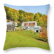 Maine Farm On Side Of Hill In Autumn Throw Pillow