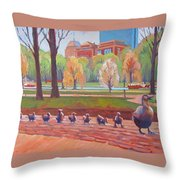 Make Way For Ducklings Throw Pillow