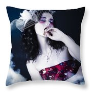 Makeup Beauty With Gothic Hair And Bloody Mouth Throw Pillow