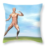Male Musculature In Fighting Stance Throw Pillow