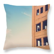Man In An Abandoned Building Throw Pillow
